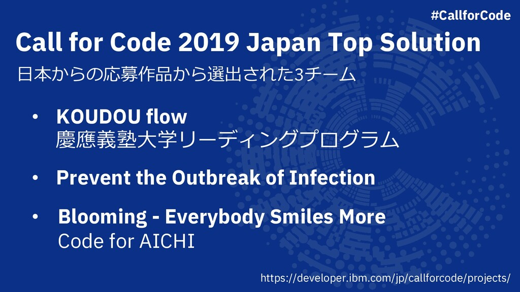Call for Code 2019 Japan Top Solution ⽇本からの応募作品...