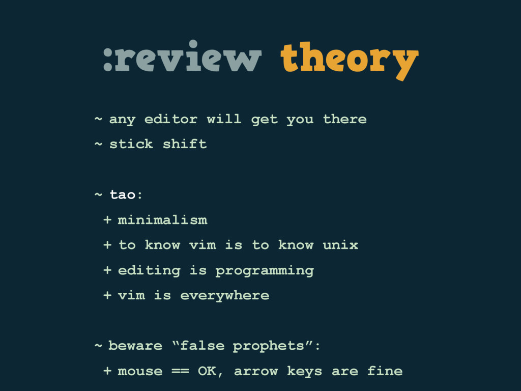 :review theory ~ any editor will get you there ...