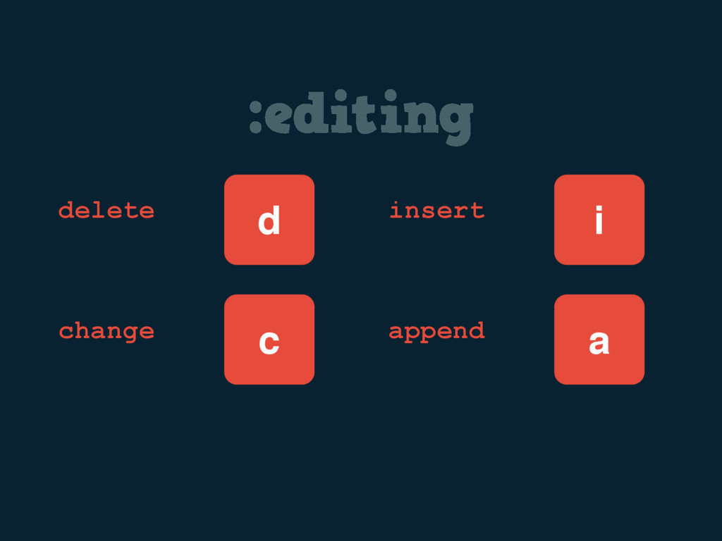 :editing d delete change c i insert append a