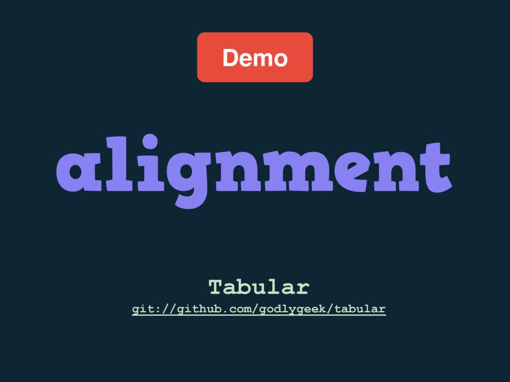 Demo Tabular git://github.com/godlygeek/tabular...