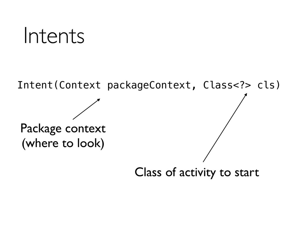 Intents Intent(Context packageContext, Class<?>...