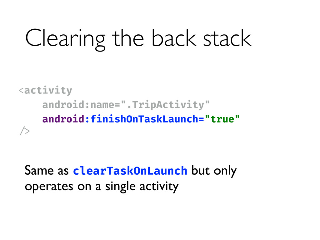 Clearing the back stack <activity