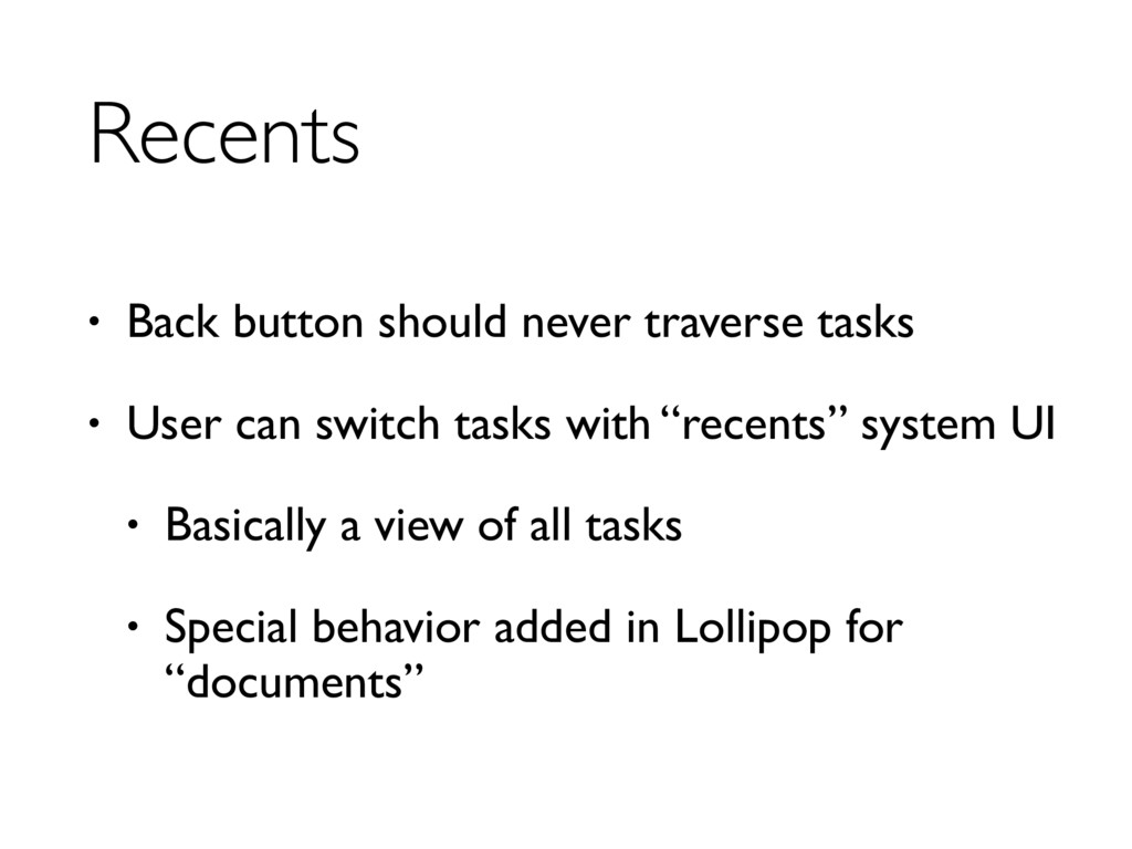 Recents • Back button should never traverse tas...