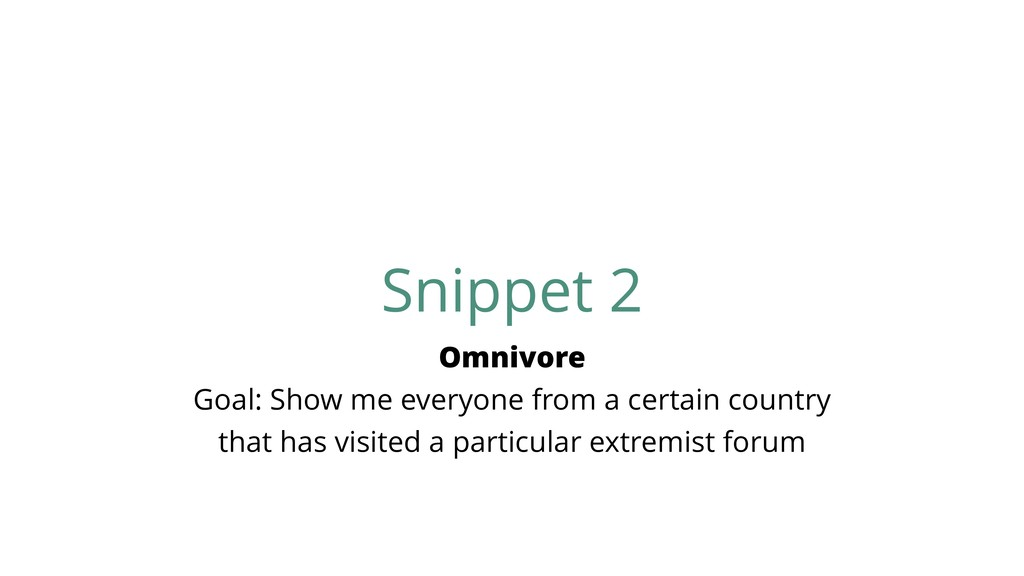 Snippet 2 Omnivore Goal: Show me everyone from ...