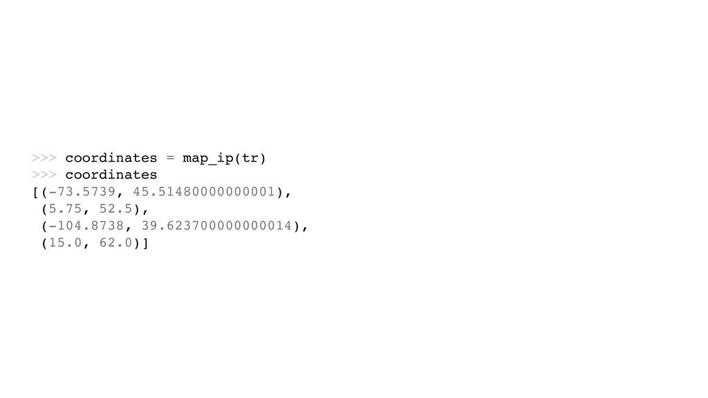 >>> coordinates = map_ip(tr) >>> coordinates [(...
