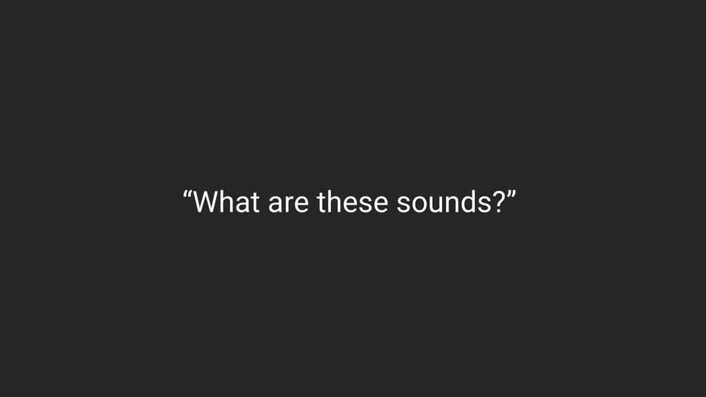 """""""What are these sounds?"""""""