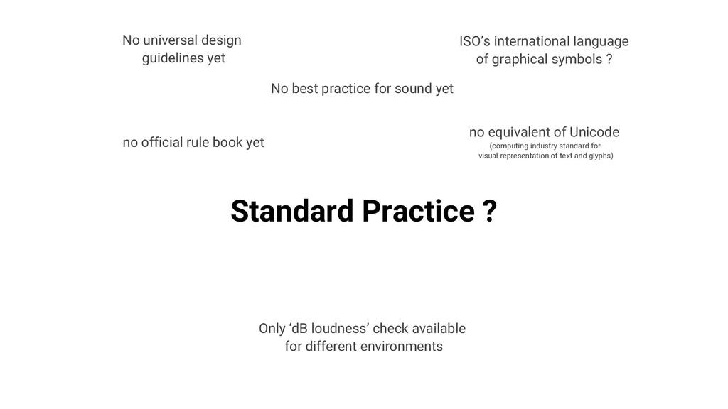 Standard Practice ? no official rule book yet N...