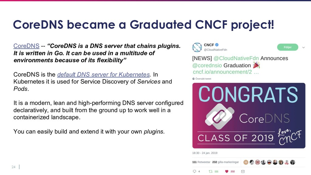 24 CoreDNS became a Graduated CNCF project! Cor...