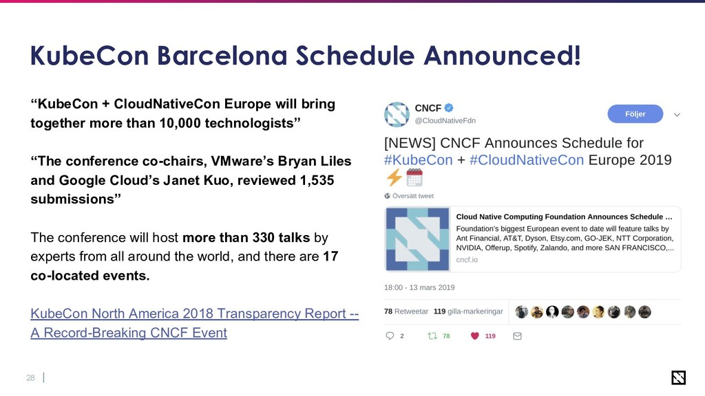 "28 KubeCon Barcelona Schedule Announced! ""KubeC..."