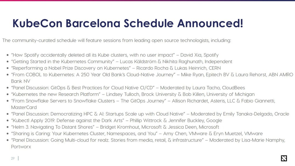 29 KubeCon Barcelona Schedule Announced!