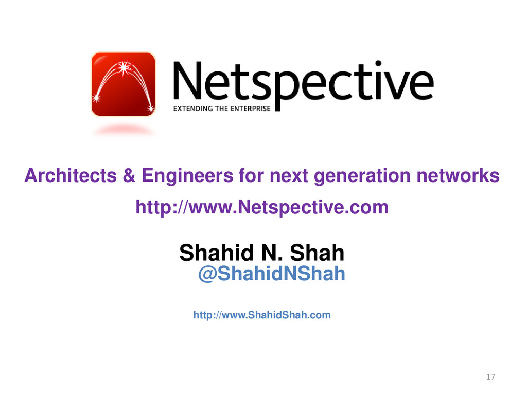 Architects & Engineers for next generation netw...