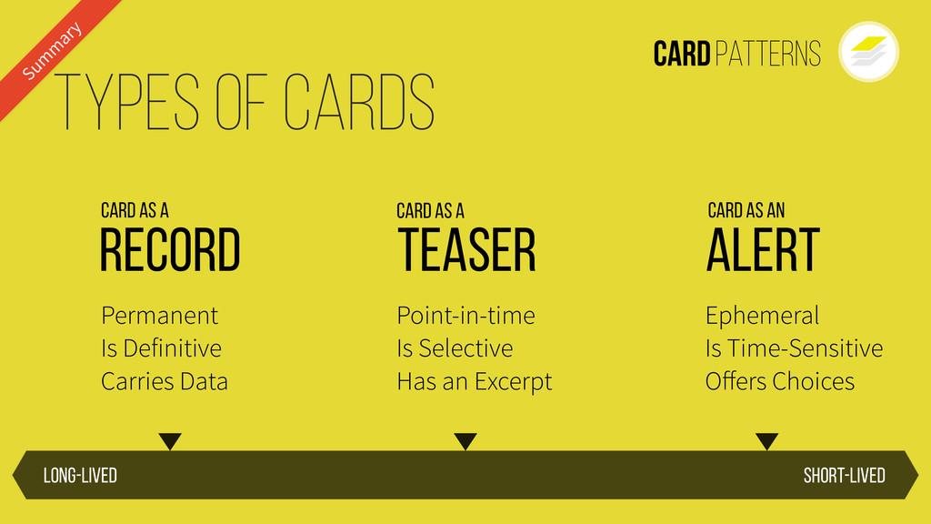 CardPatterns Short-lived Long-lived Types of Ca...