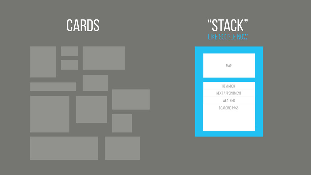 "Cards Like Google Now ""Stack"" Map BOARDING PASS..."