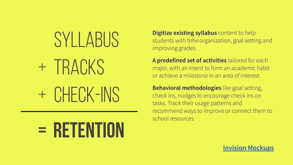 Syllabus Tracks + Check-ins + Retention = Digit...