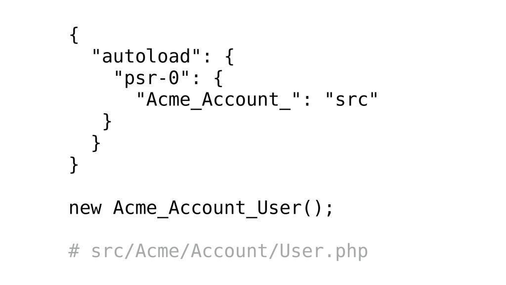 """{ """"autoload"""": { """"psr-0"""": { """"Acme_Account_"""": """"sr..."""