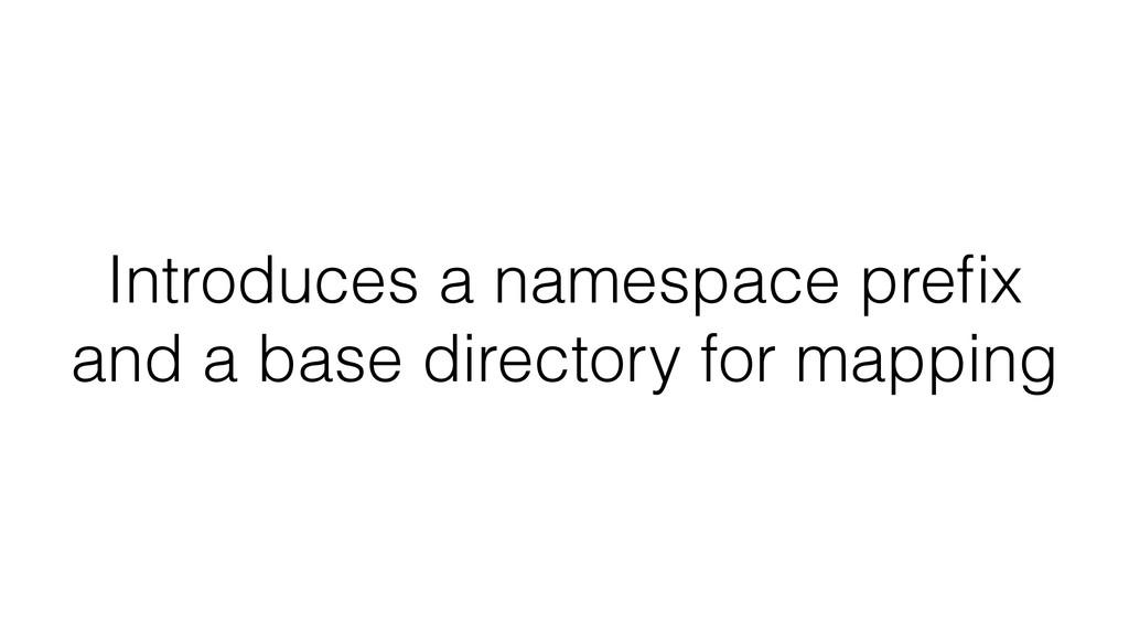 Introduces a namespace prefix and a base directo...