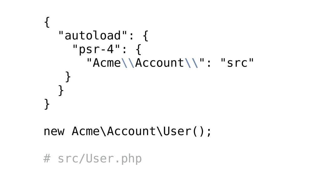 """{ """"autoload"""": { """"psr-4"""": { """"Acme\\Account\\"""": """"..."""