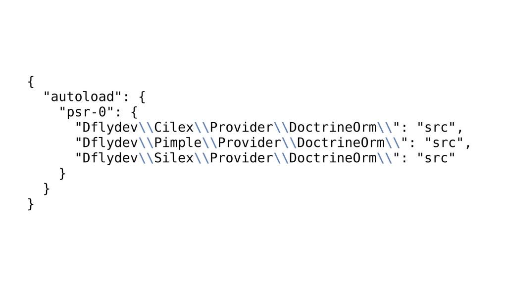 "{ ""autoload"": { ""psr-0"": { ""Dflydev\\Cilex\\Pro..."