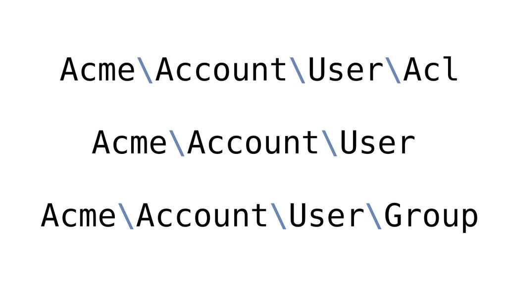 Acme\Account\User Acme\Account\User\Acl Acme\Ac...