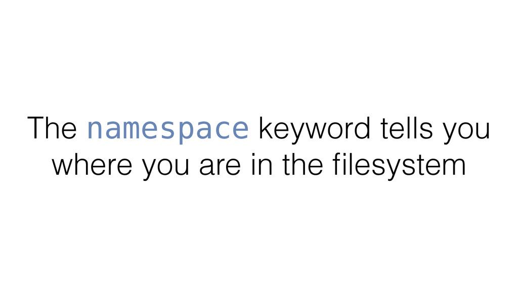 The namespace keyword tells you where you are i...