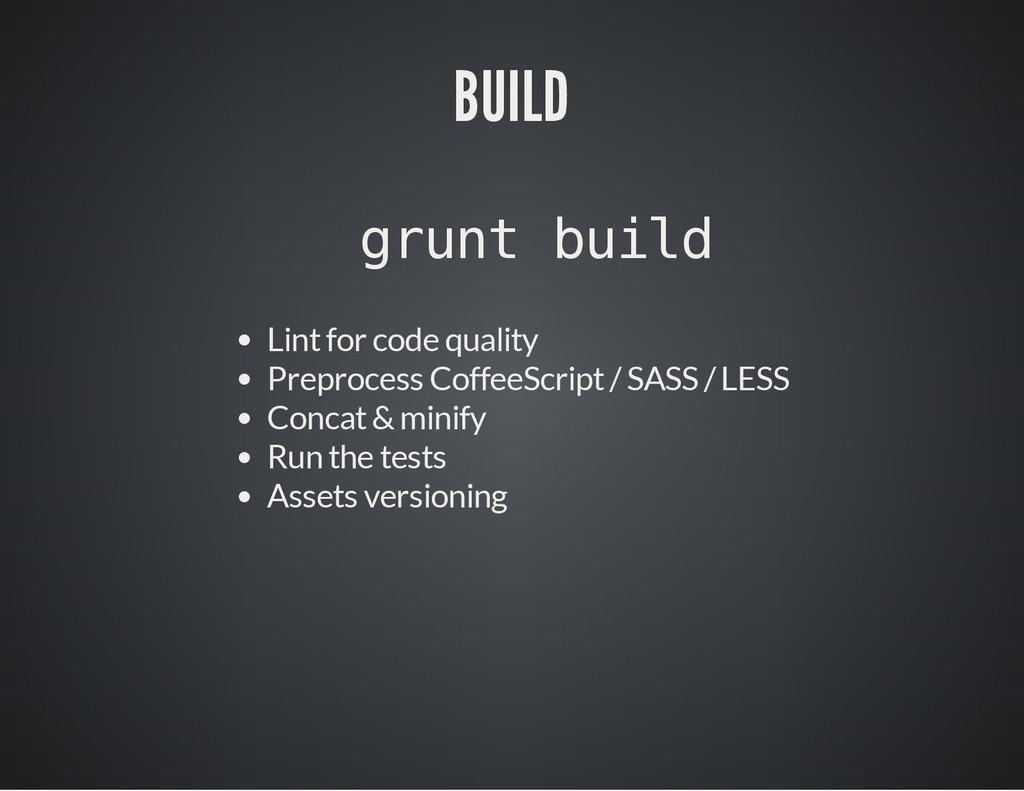 BUILD g r u n t b u i l d Lint for code quality...