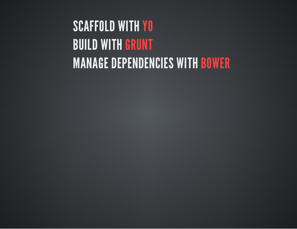 SCAFFOLD WITH YO BUILD WITH GRUNT MANAGE DEPEND...