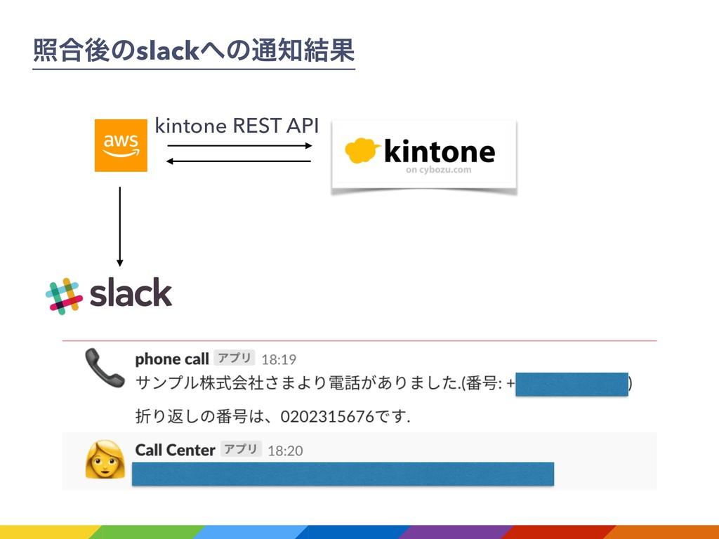 র߹ޙͷslackͷ௨݁Ռ kintone REST API