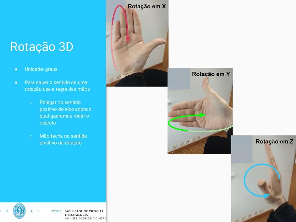 Rotação 3D ● Unidade: graus ● Para saber o sent...