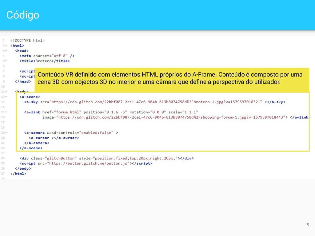 Código 9 Conteúdo VR definido com elementos HTML...