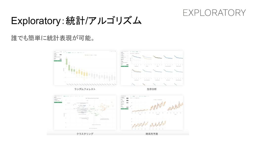Exploratory:統計/アルゴリズム 誰でも簡単に統計表現が可能。