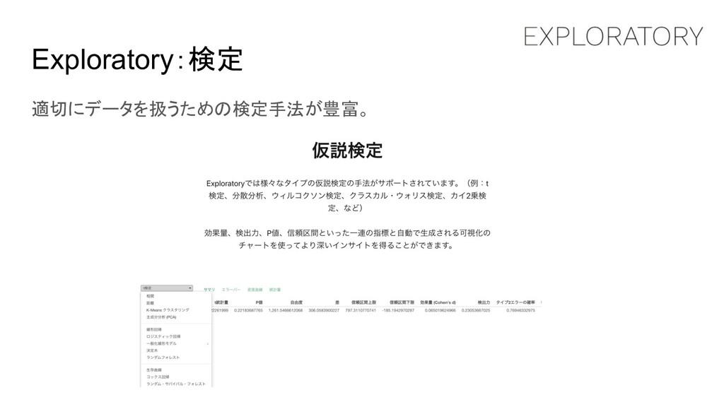 Exploratory:検定 適切にデータを扱うための検定手法が豊富。