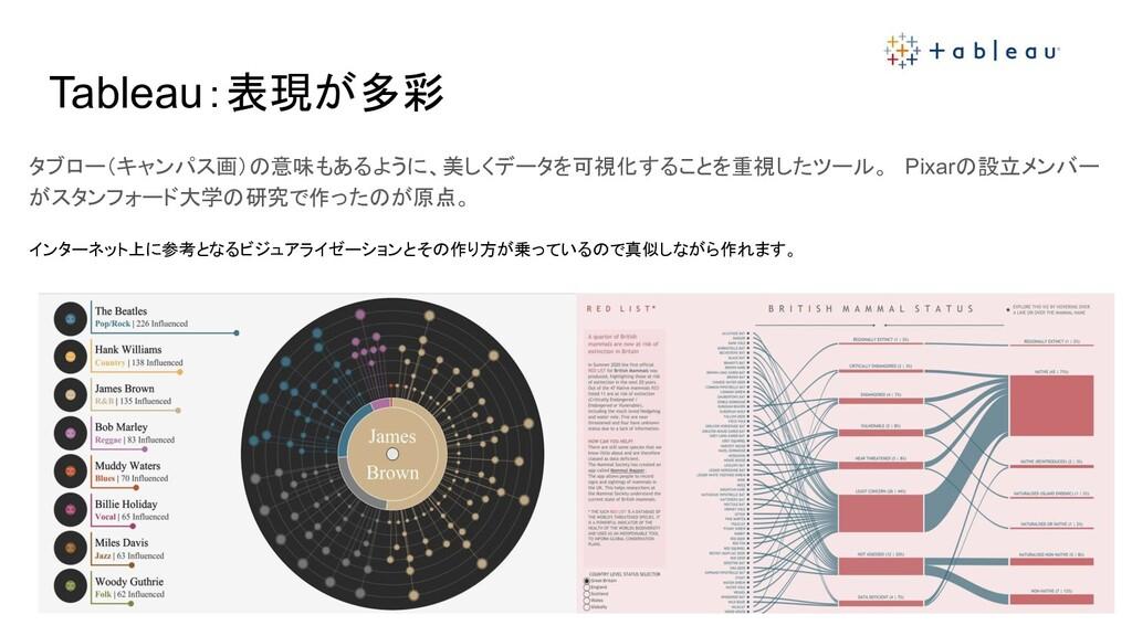 Tableau:表現が多彩 タブロー(キャンパス画)の意味もあるように、美しくデータを可視化す...