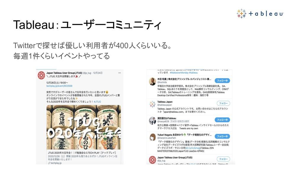 Tableau:ユーザーコミュニティ Twitterで探せば優しい利用者が400人くらいいる。...