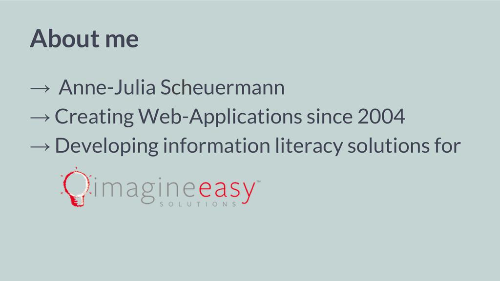 About me → Anne-Julia Scheuermann → Creating We...