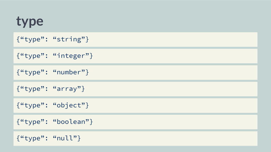 "type {""type"": ""string""} {""type"": ""integer""} {""t..."
