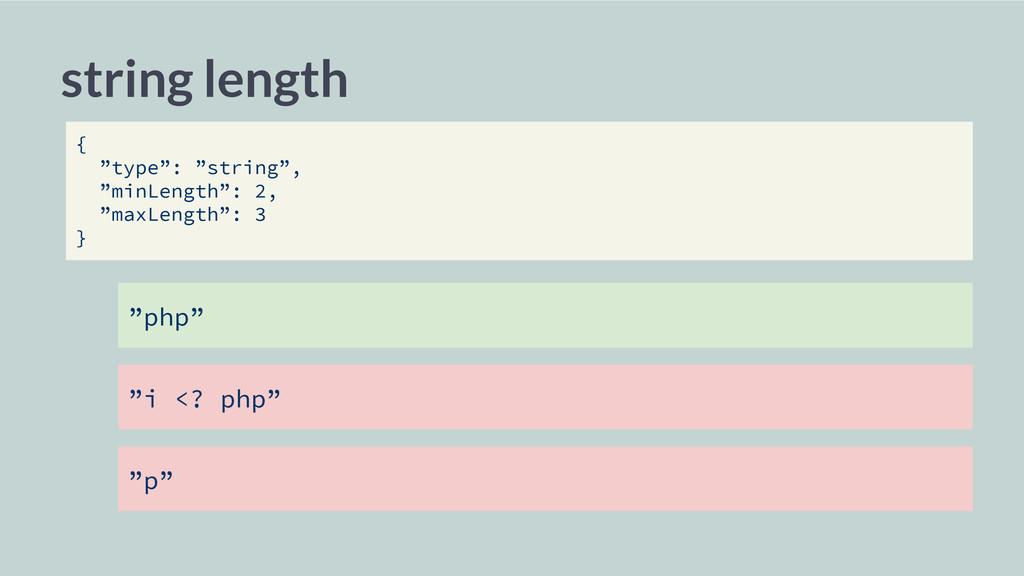 """php"" string length { ""type"": ""string"", ""minLen..."