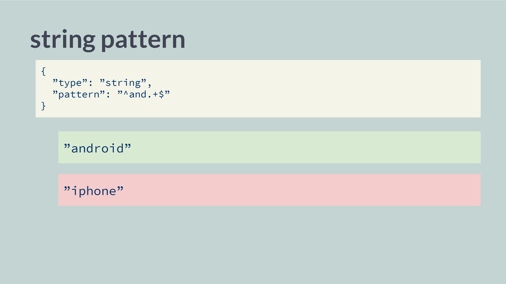 "string pattern { ""type"": ""string"", ""pattern"": ""..."