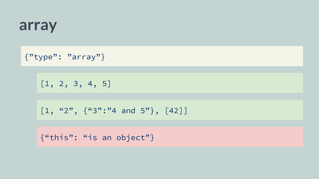 """array [1, 2, 3, 4, 5] [1, """"2"""", {""""3"""":""""4 and 5""""},..."""