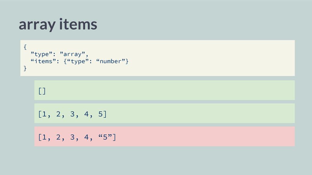 """array items [] [1, 2, 3, 4, 5] [1, 2, 3, 4, """"5""""..."""