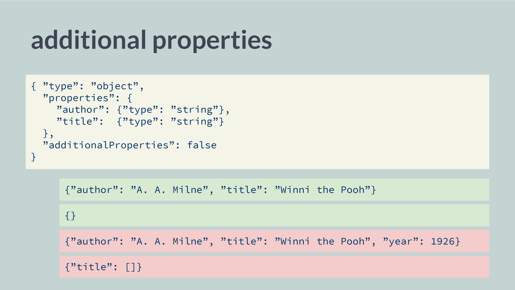 """additional properties { """"type"""": """"object"""", """"prop..."""