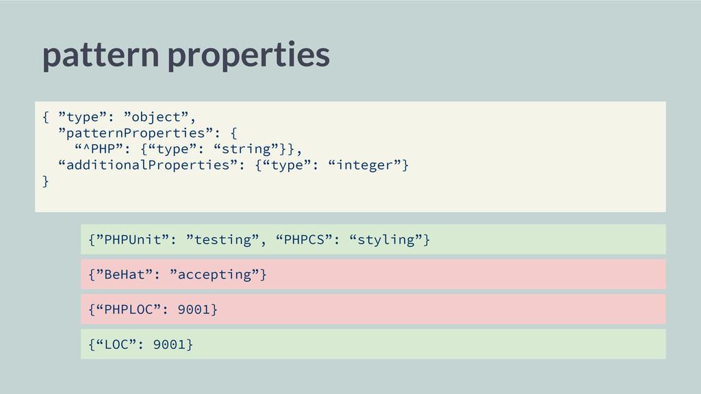 "{""PHPUnit"": ""testing"", ""PHPCS"": ""styling""} patt..."