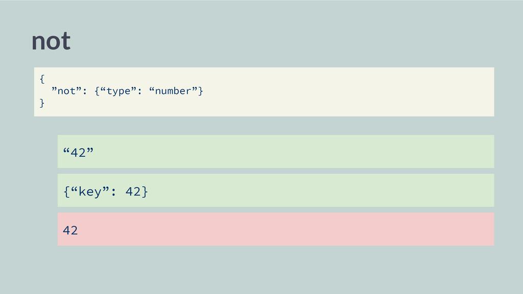 "not ""42"" {""key"": 42} 42 { ""not"": {""type"": ""numb..."