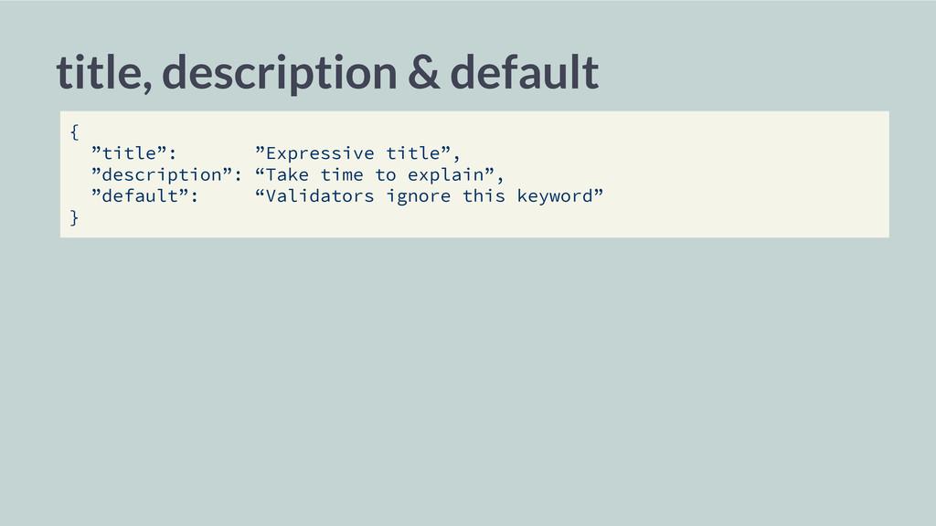 """title, description & default { """"title"""": """"Expres..."""