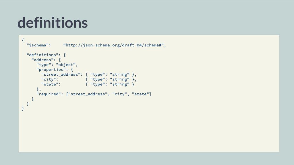 """definitions { """"$schema"""": """"http://json-schema.or..."""