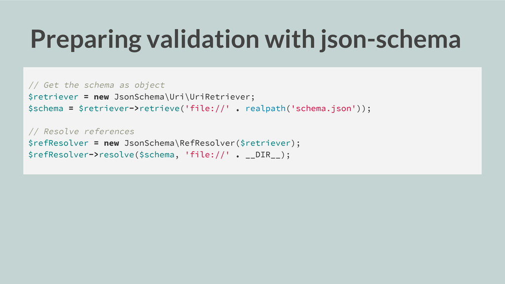 Preparing validation with json-schema // Get th...