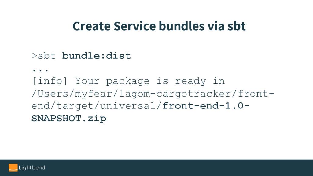 >sbt bundle:dist ... [info] Your package is rea...