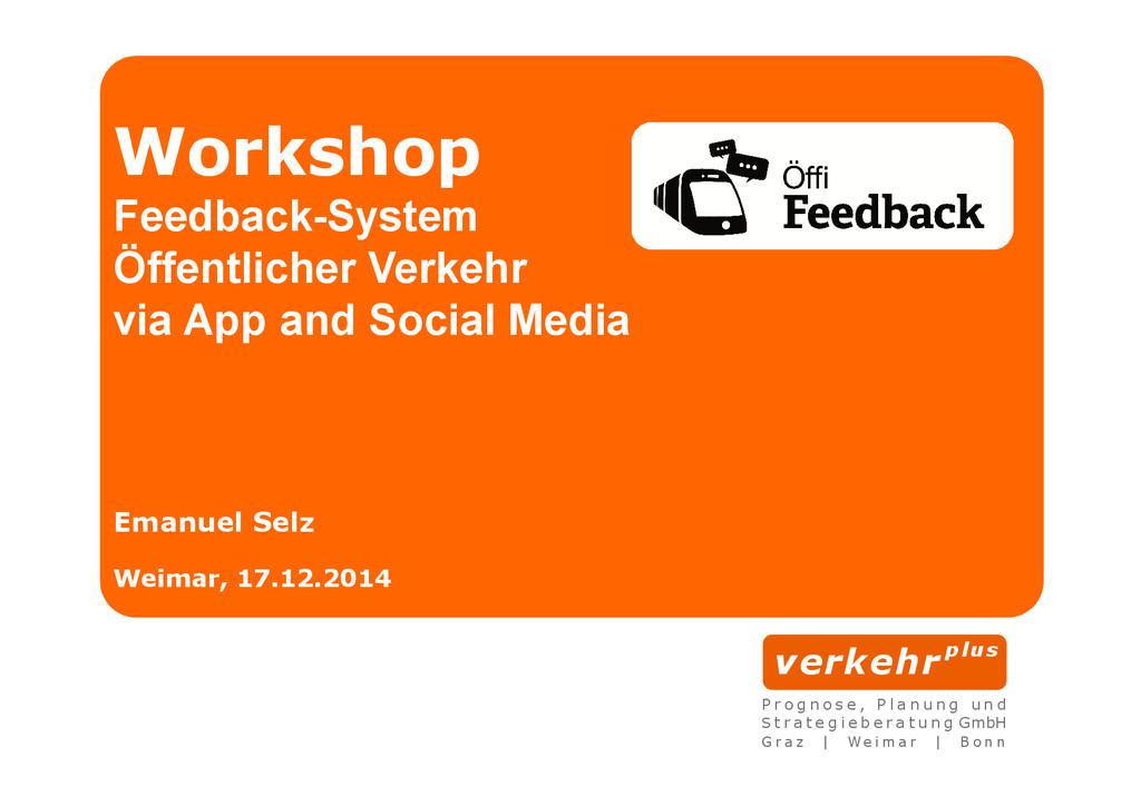 Workshop Feedback-System Öffentlicher Verkehr v...