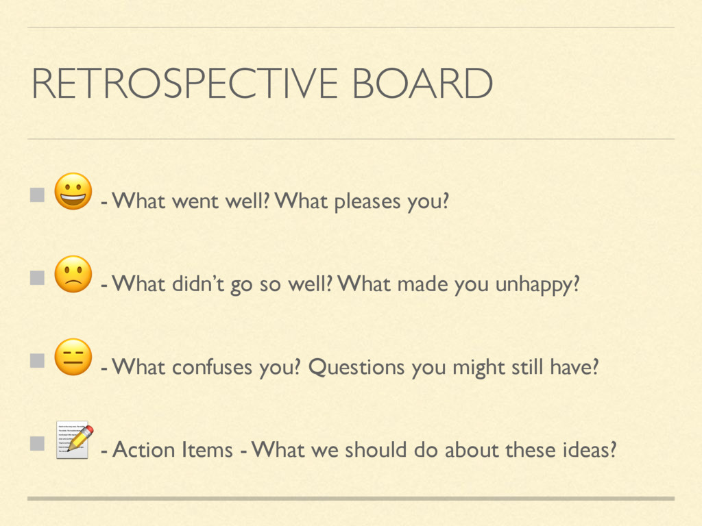 RETROSPECTIVE BOARD  - What went well? What ple...