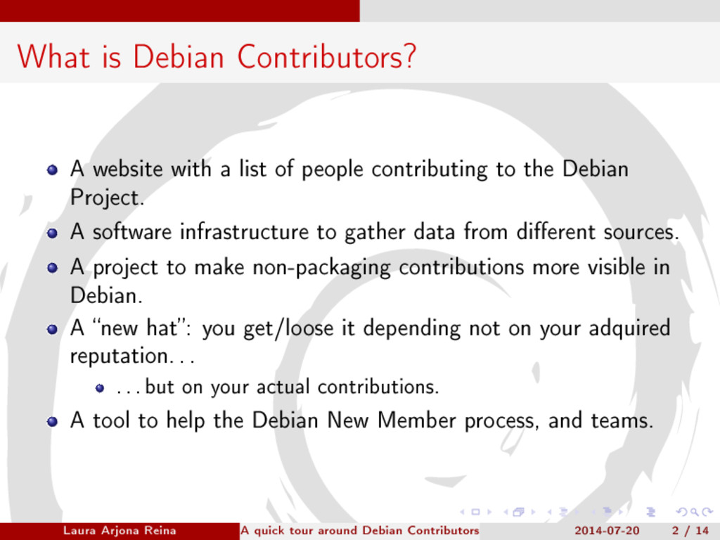 What is Debian Contributors? A website with a l...