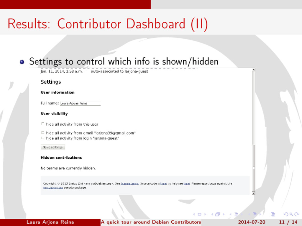 Results: Contributor Dashboard (II) Settings to...